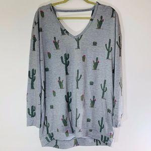 Eyeshadow Long Sleeve Cactus Tunic; L